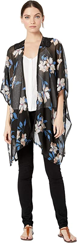 Floral Kimono with Lace Insert