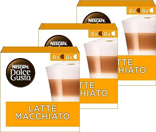 Amazon.nl-Nescafé Dolce Gusto Latte Macchiato Koffie Cups, 48 Stuks (3 x 16 Capsules)-aanbieding