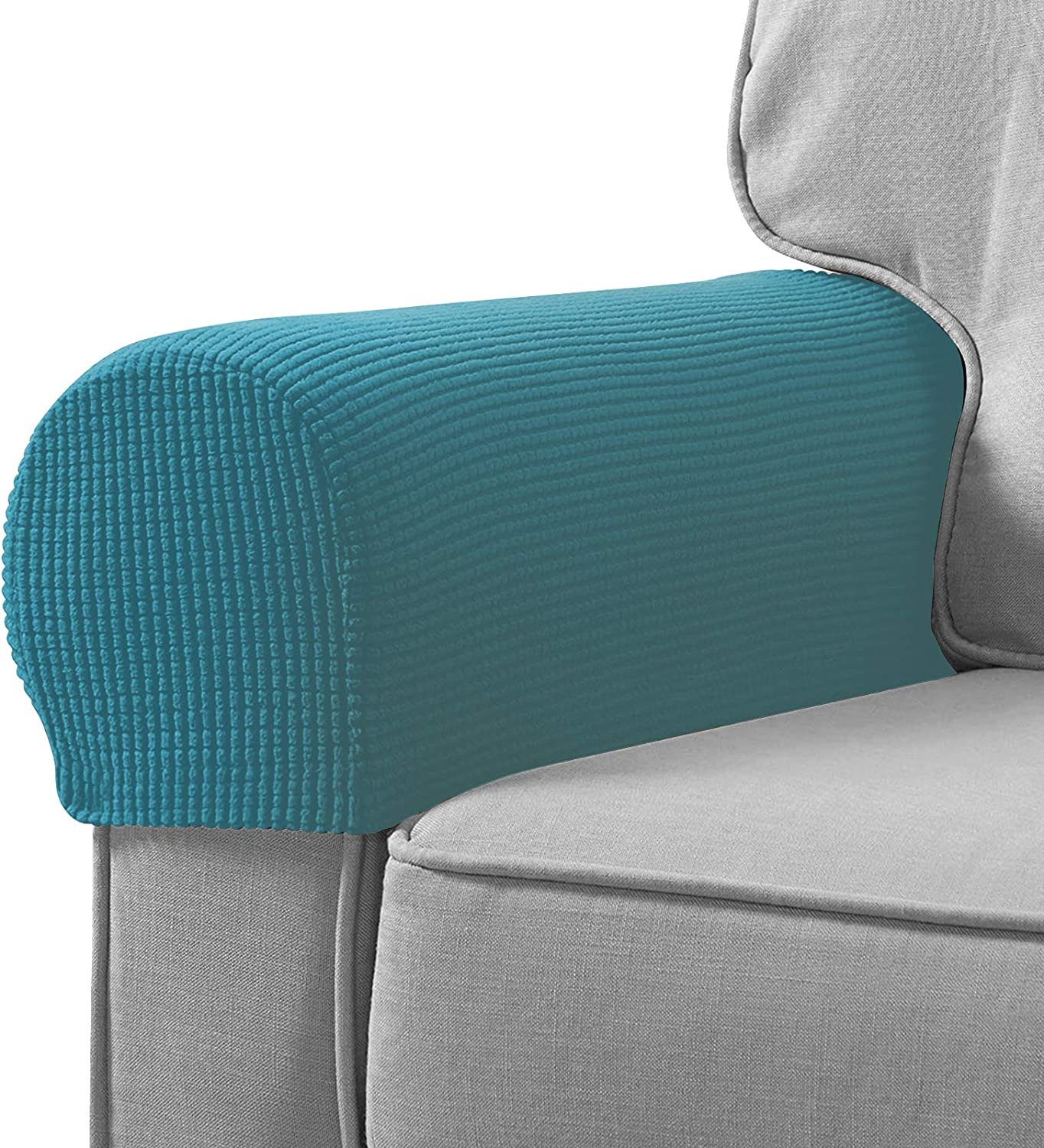 Sofa Armrest Cover Stretch Armchair Slipcover Furniture Armrest Protector for Sofa Chair Recliner Couch Loveseat Set of 2 (Turquoise)