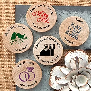 Personalized Wooden Wedding Magnets, Personalized Refrigerator Magnets, Save The Date Magnets (Set of 50)