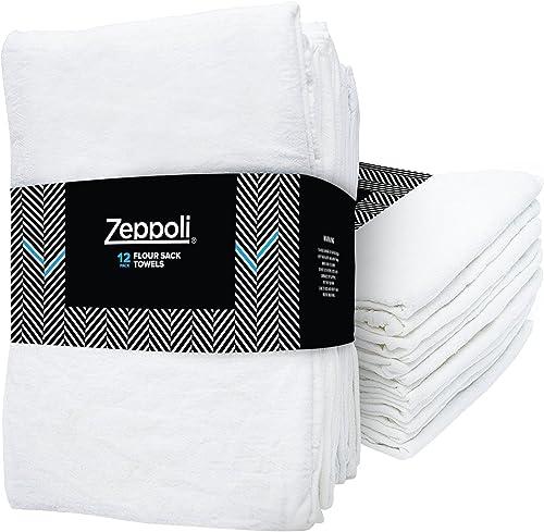 "Zeppoli 12-Pack Flour Sack Towels - 31"" X 31"" Kitchen Towels - Absorbent Dish Towels - 100% Ring-Spun Cotton Bar Towels"