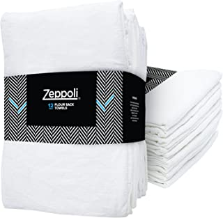 Zeppoli 12-Pack Flour Sack Towels - 31 x 31 Inches Kitchen Towels - Absorbent White Dish Towels - 100% Ring Spun Cotton Bar Towels