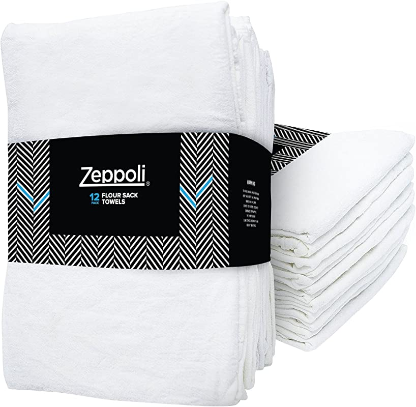 Zeppoli 12 Pack Flour Sack Towels 31 X 31 Inches Kitchen Towels Absorbent White Dish Towels 100 Ring Spun Cotton Bar Towels
