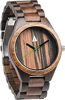 Men's Walnut and Ebony Wooden Watch with All Wood Strap Quartz Analog.