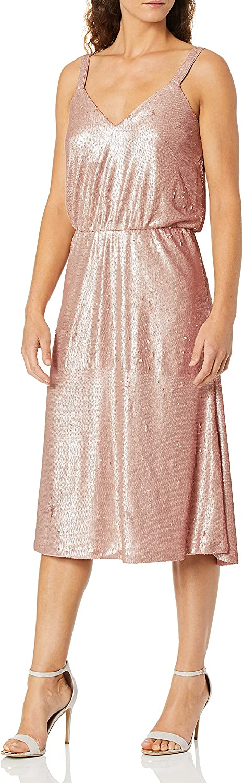 Dress the Population Women's Cameron Sleeveless Blouson Fit & Flare Sequin Midi Dress, Rose, XXS