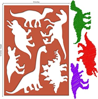 Karty Large Dinosaur Stencils for Kids Extra Thick Includes 20 Large Dinosaur Shapes with Pictures and Info About Each Dinosaur Most Durable Animal Stencils Available for Arts & Crafts