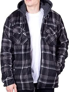 Mens Flannel Hoodie Jackets for Men Zip Up Fleece Sherpa Lined Shirt
