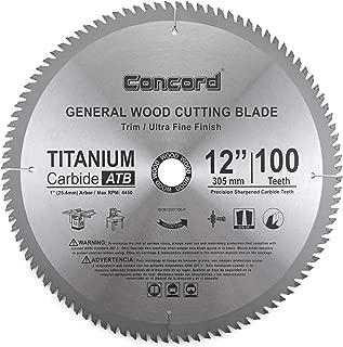 Concord Blades WCB1200T100HP 12-Inch 100 Teeth TCT General Purpose Hard & Soft Wood Saw Blade