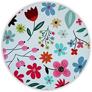 Designer Desk Mouse Pad, Cute Mouse Pad for Women, Office, Work & Home Computer Accessory, Beautiful & Vibrant Floral Design, Non Slip, Circular, Teen Flowers (Hand Drawn Flower, Round)