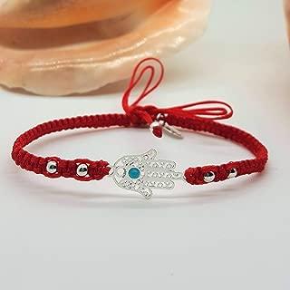 BARBARI Jewelry Red Silver Plated Hamsa Bracelet | HANDMADE GIFT FOR HER + FREE GIFT WRAP! Bat Mitzvah Jewish Gift- High Quality Kabbalah Fatima Hand pendant Lucky Red String Bangle