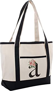 Black Linen Canvas Tote Bag Floral Initial For Beach Workout Yoga Vacation
