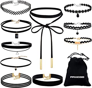 Paxcoo CN-01 Black Velvet Choker Necklaces with Storage Bag for Women Girls Pack of 10