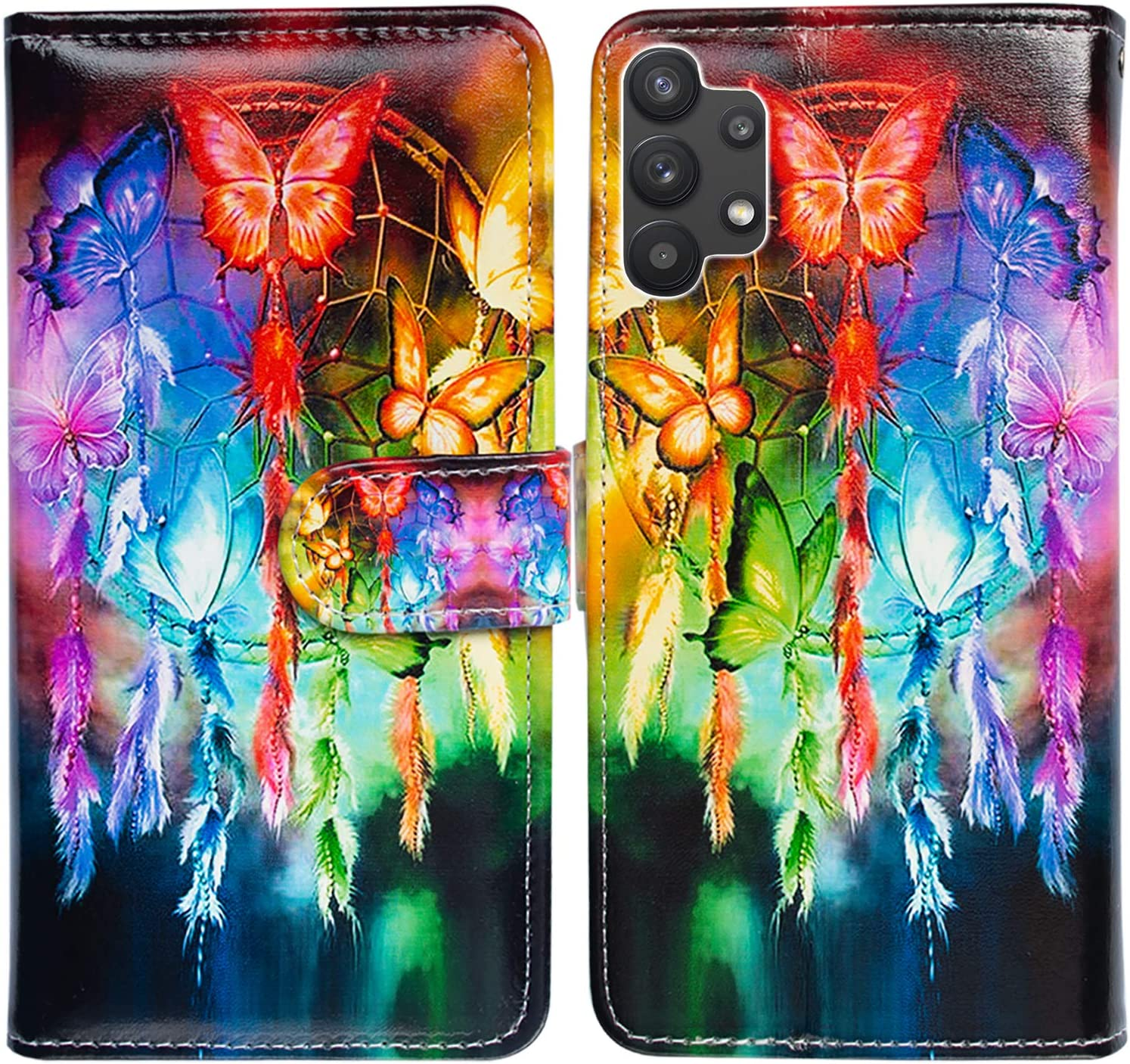 Galaxy A32 5G Case,Bcov Butterfly Dream Catcher Leather Flip Phone Case Wallet Cover with Card Slot Holder Kickstand for Samsung Galaxy A32 5G 2021
