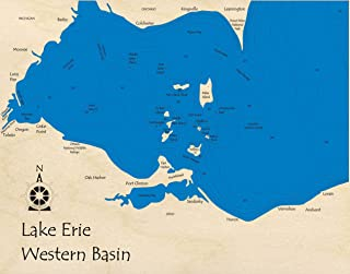 Lake Erie (Western Basin) - Great Lakes - GL - 3D Map 14 x 18 in (Cherry Frame with Glass) - Laser Carved Wood Nautical Chart and Topographic Depth map.