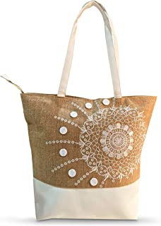 Burlap Travel Tote Bags for Women | Hand-Crafted Classy Beach Bag for Carrying Makeup tools/Other Essential Items