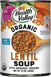Health Valley Organic Soup, No Salt Added, Lentil, 15 Oz (Pack of 12)