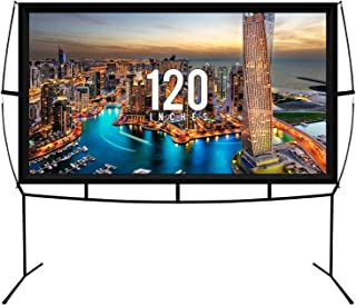 Fast Assembly Design - No Tools Needed - Jumbo 120 Inch 16: 9 Portable Outdoor and Indoor Movie Theater Front and Rear Pro...