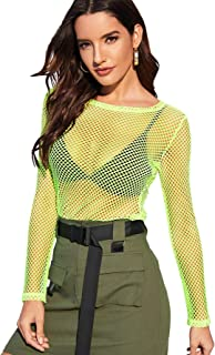 Women's Sexy Fishnet Sheer Long Sleeve Blouse See Through Mesh Crop Top