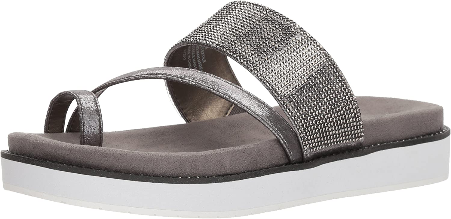 Kenneth Cole REACTION Womens Slam Shot Flat Sandal with Toe Ring and Micro-Jewel Strap Flat Sandal