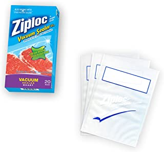 Ziploc ZL20QB3 Vacuum Seal Quart Bags, Clear, 20-Pack (Packaging May Vary)