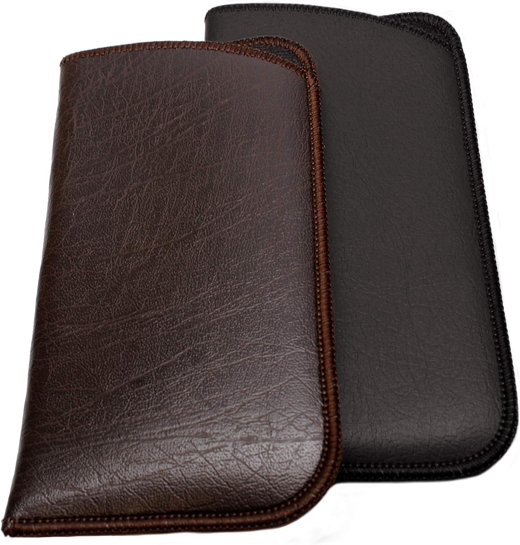 Calabria Unisex Full Slip Soft Eyeglass Case Black&Brown(2Pack) PU Leather & Felt