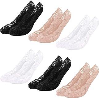 Libella, 10 Pares Calcetines Invisibles Mujer Calcetines de bailarina Antideslizante de malla de encaje algodón de silicona Respirable