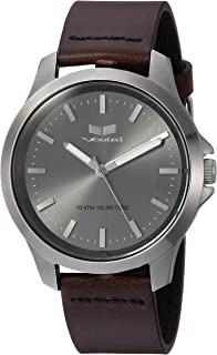 Vestal Stainless Steel Analog-Quartz Watch with Leather Strap, Brown, 18 (Model: HEI393L15.DBBK)