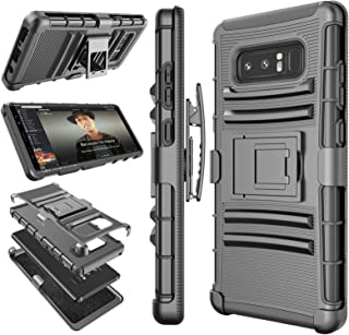 Galaxy Note 8 Case, Note 8 Holster Clip, Tekcoo [Hoplite] Shock Absorbing Swivel Locking Belt [Black] Defender Heavy Full Body Kickstand Carrying Tank Armor Cases Cover for Samsung Galaxy Note 8