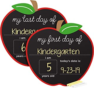 Pearhead First and Last Day of School Photo Sharing Reversible Chalkboard Sign, Apple Shaped, The Perfect Back to School Chalkboard Sign to Commemorate The First Day of School