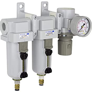 "PneumaticPlus SAU430-N04DG-MEP Three Stage Air Drying System Particulate Air Filter, Coalescing Filter, Air Pressure Regulator Combo 1/2"" NPT - Metal Bowl, Auto Drain, Bracket, Gauge"