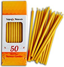 Votprof Decor 50 Natural 100% Pure Beeswax Taper Candles (6 in) Natural Honey Scent, Dripless, Smokeless, Nontoxic (NOT for Ears)