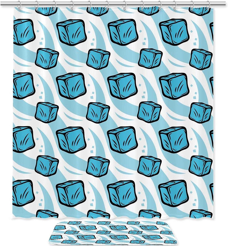 DJROW Shower Curtain Sale and Bath Mat Blue Denver Mall Cubes Set Frozen Pat Ice