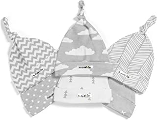 BaeBae Goods Baby Beanie Set for Newborn Boys & Girls | 100% Adjustable Knot Hats | 6 Pack of Fitted Caps Grey