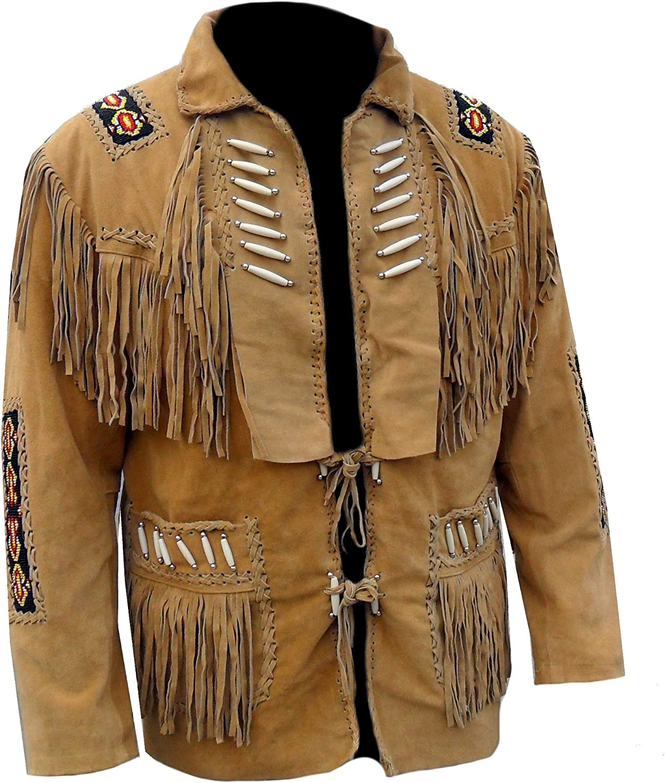 Classyak Men's Western Fringed Boned Leather Jacket