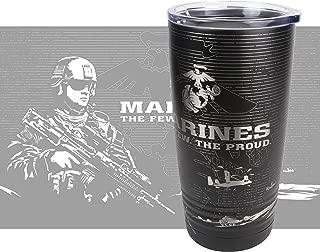 United States Marine Corps Tumbler - USMC Cup - Marines Mug - Laser Engraved 360 Degree Wrap - Soldier Yeti Style 20 oz Stainless Mug