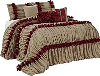 7 Piece Caralina Chic Ruched Ruffled Pleated Comforter Sets- Queen King Cal.King Size (Queen, Gold)