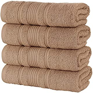 Qute Home 4-Piece Hand Towels Set, 100% Turkish Cotton Premium Quality Towels for Bathroom, Quick Dry Soft and Absorbent T...