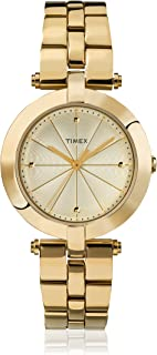 Timex Women's Quartz Watch with Gold Dial Analogue Display and Gold Stainless Steel Bracelet TW2P79200