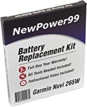 NewPower99 Battery Replacement Kit for Garmin Nuvi 265W with Installation Video, Tools, and Extended Life Battery.