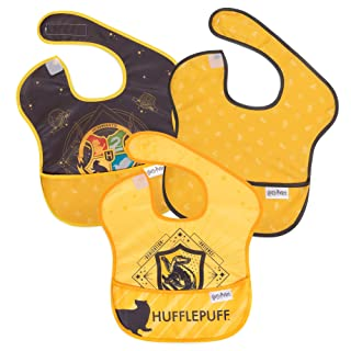 Bumkins Harry Potter SuperBib, Baby Bib, Waterproof, Washable, Stain & Odor Resistant, 6-24 Months, 3 Pack - Hufflepuff