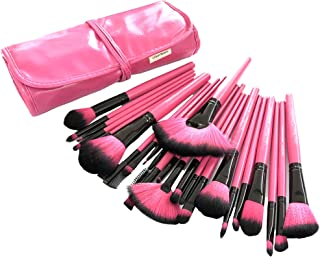 Urban Beauty Makeup Brush Set with Storage Pouch (Pink)-24 Pieces