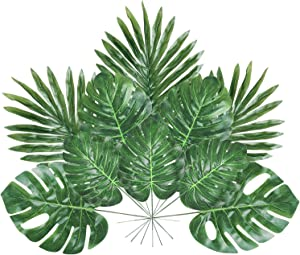 Tropical Palm Leaves with Stems 24 Pack, 4 Kinds Artificial Plant Faux Monstera Leaves for Dino Hawaiian Luau Aloha Jungle Party Suppliers Table Desk Home Birthday Balloons Arch Decorations