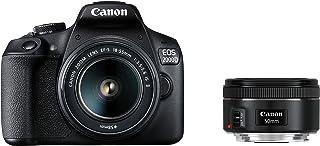 Canon EOS 2000D Spiegelreflexkamera (24,1 MP, DIGIC 4+, 7,5 cm (3,0 Zoll) LCD, Full HD, WIFI, APS C CMOS Sensor) inkl. Objektive EF S 18 55mm F3.5 5.6 IS II und EF 50mm F1.8 STM, schwarz