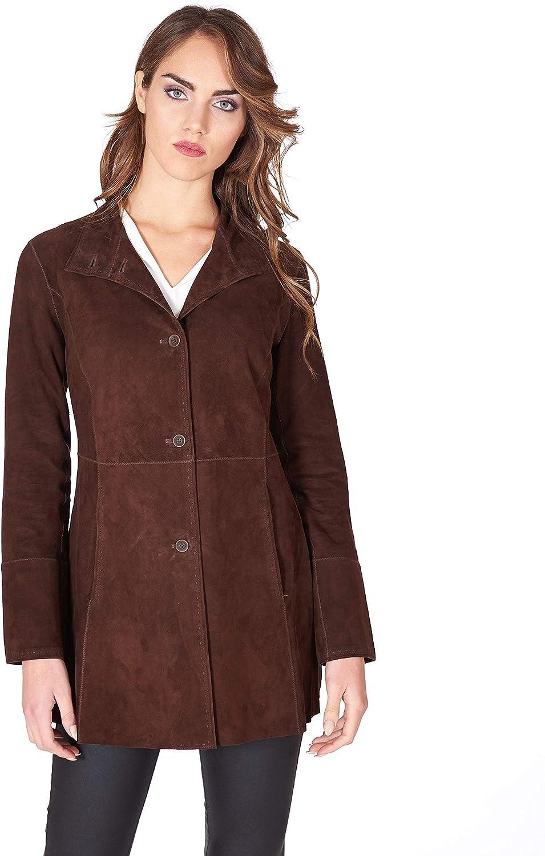 Dark Brown Suede Unlined Lamb Leather Coat