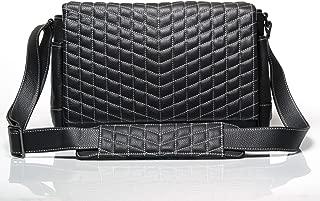 Vi Vante The Exotic Designer Full Size Leather Camera Bag Black Leather w/White Stitching Quilting & Plush Interior