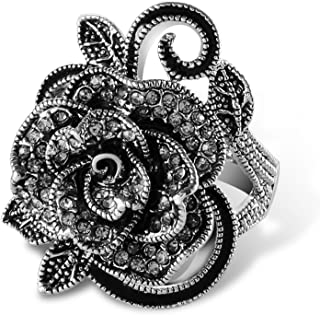 Fashion Black Marcasite Ring Vintage Jewelry Silver Rings for Women