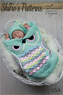 Crochet Pattern for Baby Cocoon and Hat in 3 Sizes, Owl Cocoon, Premature, Preemie, 0-3mths and 3-6mths, Light Worsted CP245