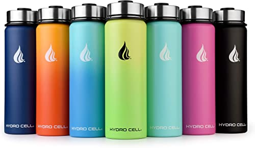 HYDRO CELL Stainless Steel Water Bottle w/Straw & Wide Mouth Lids (40oz 32oz 24oz 18oz) - Keeps Liquids Hot or Cold w...