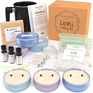 Nature's Blossom Soy Candle Making Kit - Make 3 Large Scented Candles with 2 Wicks. A Complete Beginners DIY Supplies Starter Set with Soy Wax, Scents, Pouring Pot, Wicks, Guide and More.