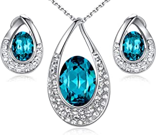 """Leafael [Presented by Miss New York Angel's Teardrop Made with Swarovski Crystals Blue Zircon Jewelry Set Earrings Necklace, 18+ 2"""", White Gold Pla"""